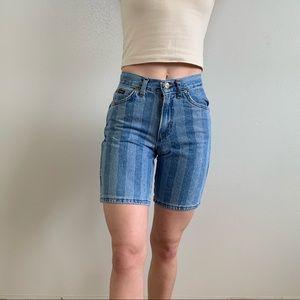 Vintage 80s High Waist Stripes Denim Mom Shorts